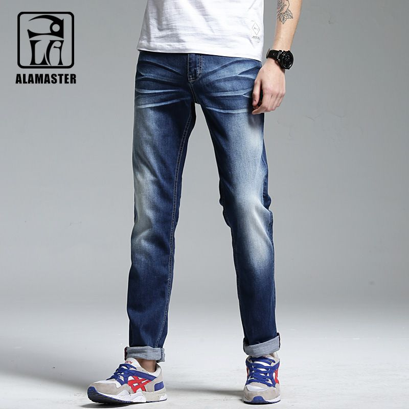 A LA MASTER Summer Male Straight Slim Jeans New Arrival light Blue cotton Denim pants Hip hop Retro Trendy Trousers 062202