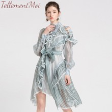 купить Elegant Striped Dress For Women Stand Collar Long Sleeve Ruffles High Waist Asymmetrical Midi Dresses Female Fashion 2019 Autumn по цене 3666.89 рублей