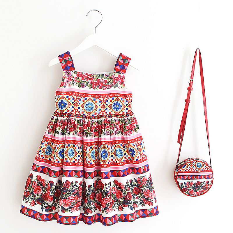 Toddler Girl Dresses Baby Summer Clothes 2018 Brand Princess Dress with Bag Costume for Kids Dress Children Clothing Vestidos summer girl dress princess tutu toddler vestidos children clothing minnie sleeveless baby girls dresses casual kids clothes