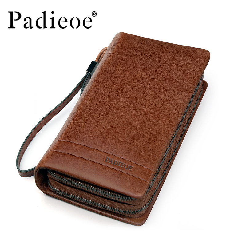 ФОТО Padieoe Men's Genuine Leather Long Wallet Famous Brand Luxury Male Card Holder Double Zipper Phone Wallet Wristlet Cluth Purse