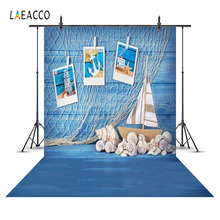 Laeacco Blue Wooden Boards Fishing Net Shells Photography Backgrounds Vinyl Customizable Backdrops For Photo Studio