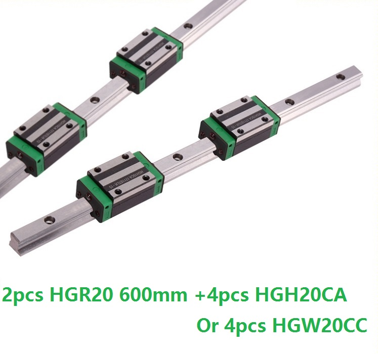 2pcs linear guide rail HGR20 600mm with 4pcs HGH20CA Or HGW20CC linear block Carriage for cnc router2pcs linear guide rail HGR20 600mm with 4pcs HGH20CA Or HGW20CC linear block Carriage for cnc router