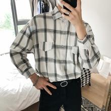 Fashion Casual Youth Pocket Plaid Cotton Men Loose Camisa 2018 Autumn Hong Kong Style Lattice Long Sleeve Male Shirt Homme M-XL