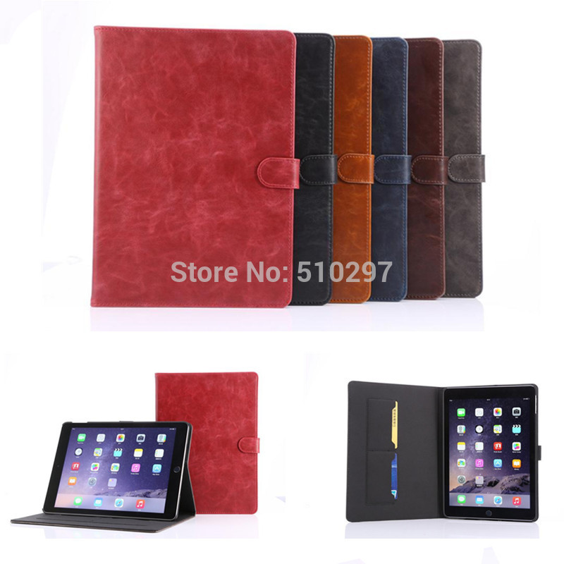 HOT Crazy Horse pattern PU leather stand case For Apple ipad air 2 cover for ipad6 With Stand case For ipad air2 ipad 6