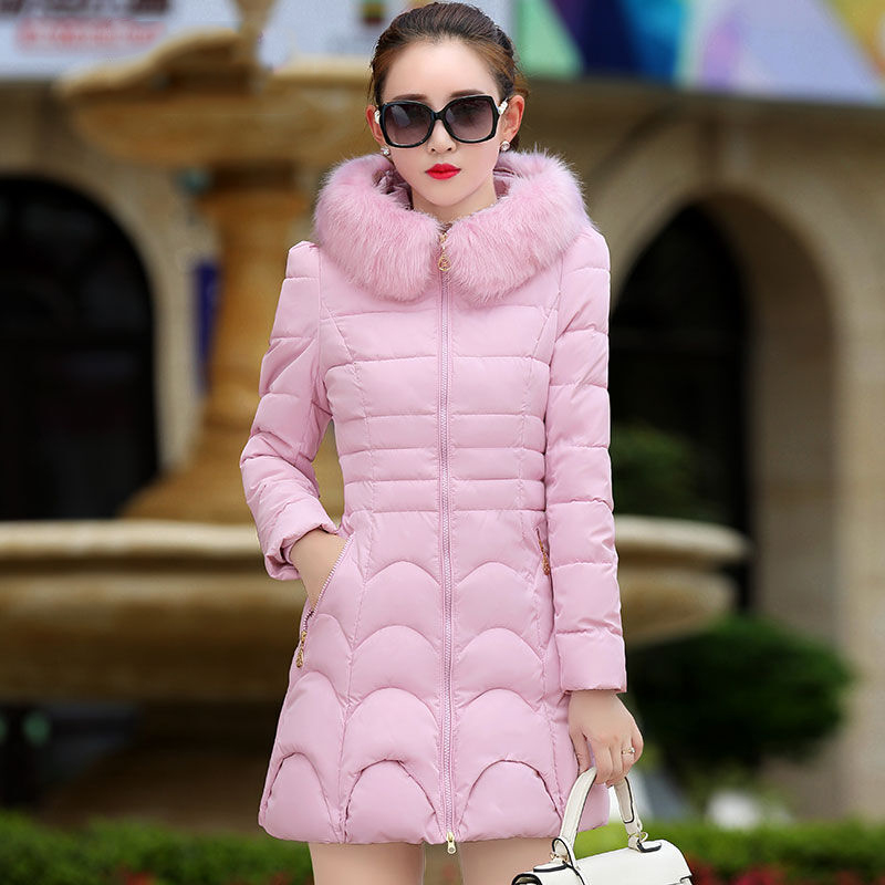 Winter Jacket 2017 Women Cotton Padded Long Jacket Slim Coat Outwear High Quality Warm Female Parka Faux Fur Hooded Womens Coat  цена