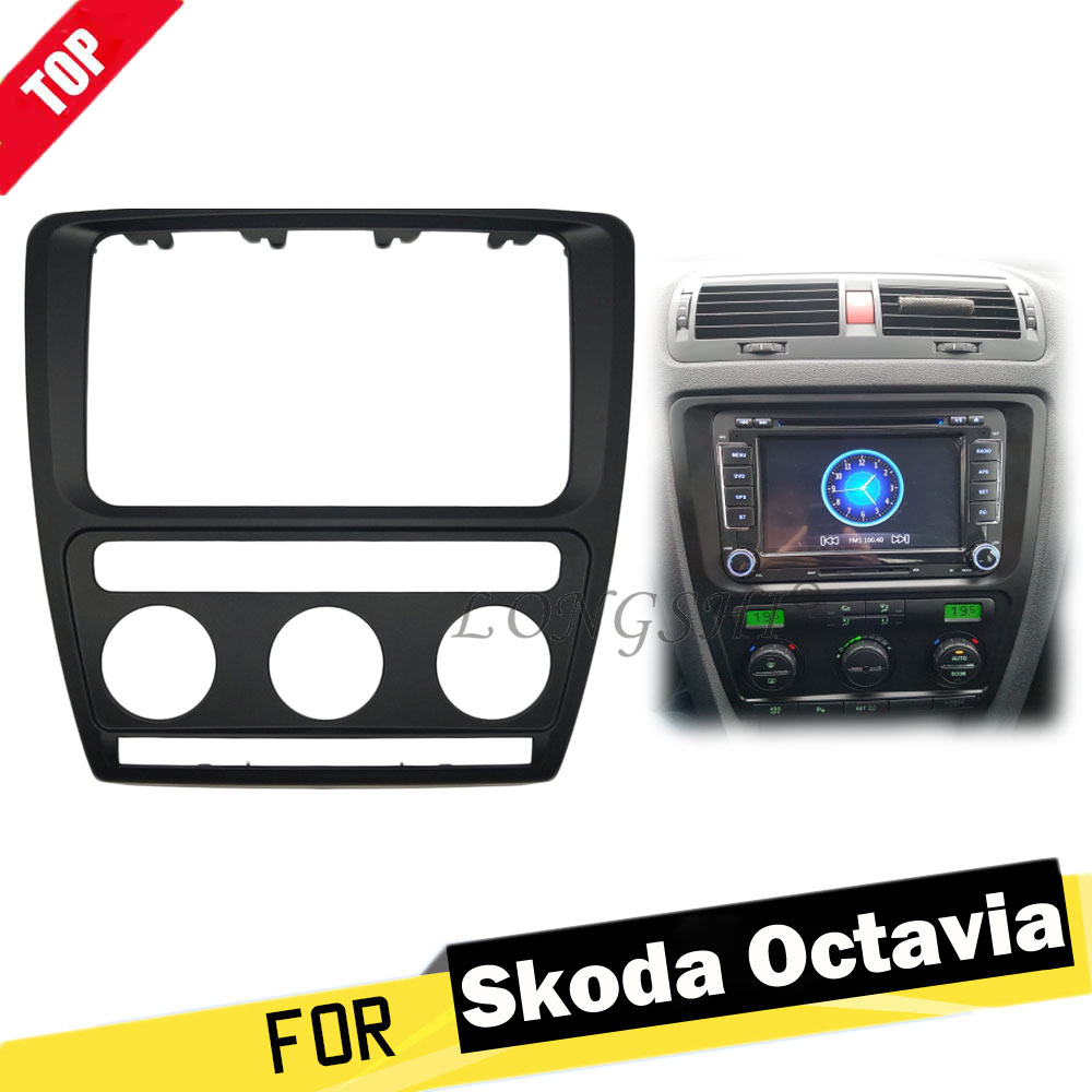 LONGHSI Facia For Skoda Octavia (Automatic Aircon) 2004-2010 Radio DVD Stereo CD Panel Dash Kit Trim Fascia Face Plate Frame