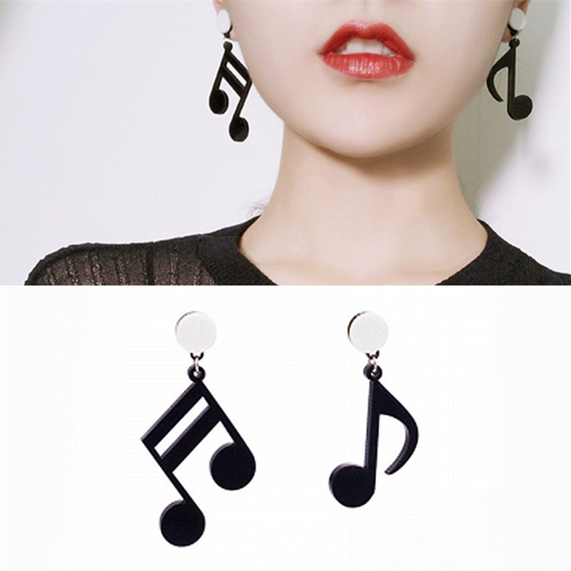 Personality Notes Music Earrings Black Acrylic Asymmetric Earrings Women Accessory Jewelry Bijoux 2019 Gift Factory Direct Sale