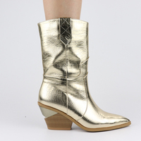 High Quality Brand Gold Winter Plus Size 46 Vintage Square Heels Woman Mid Calf Boots women's Shoes Western Boots Shoes Women