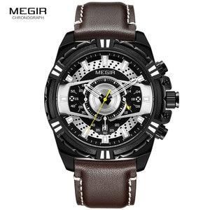 Image 3 - MEGIR Mens Chronograph Sport Quartz Watches Leather Strap Top Brand Luxury Army Wristwatch Relogios Masculino Clock 2118 Black