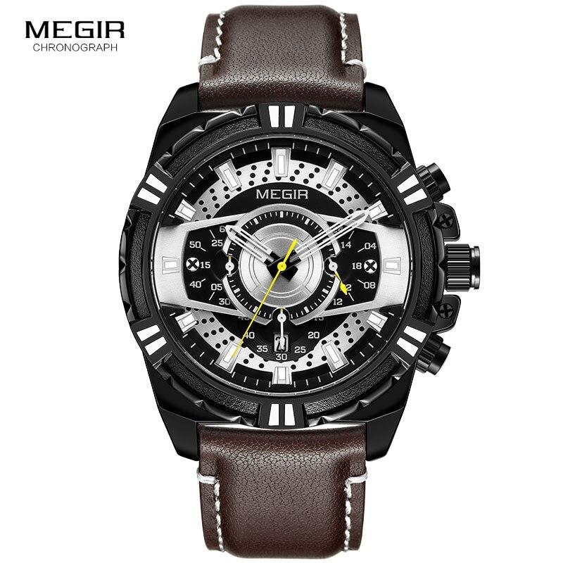 Image 3 - MEGIR hommes chronographe Sport Quartz montres bracelet en cuir haut marque de luxe armée montre bracelet Relogios Masculino horloge 2118 noirMontres à quartz   -
