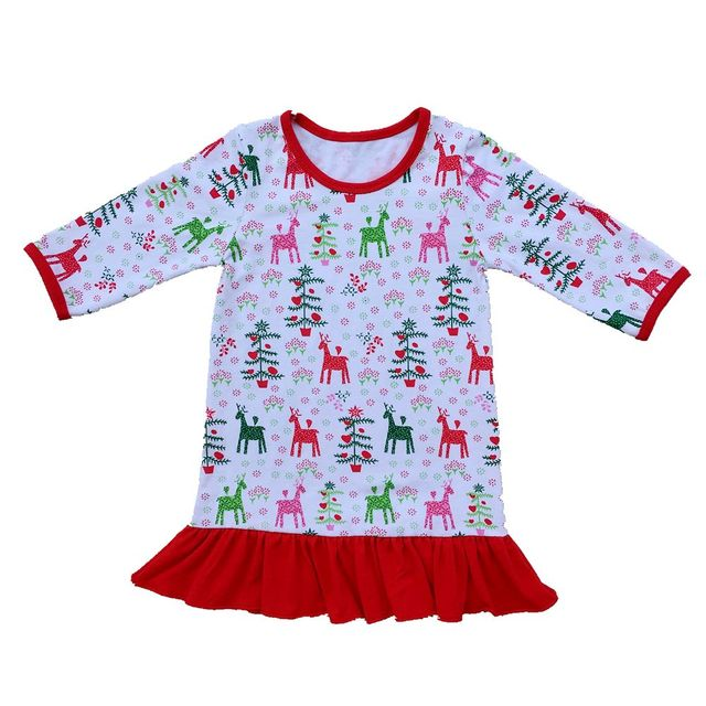 d5cc474de girls dress long sleeve Ruffle Dress Girls Christmas Pajamas Red And White  Stripe personalized custom initial monogram Dress