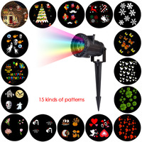 LAIDEYI 15 Types LED Stage Lighting Effect Holiday Waterproof Projector Lamp Christmas Halloween Snowflake Star Laser
