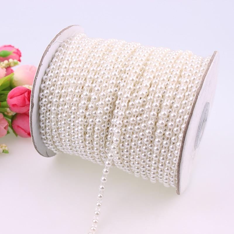 White Pearl Beads Strand Garland Acrylic Wedding Pearl: 4mm Flat Back Plastic Pearl Trim Ivory / White ABS Half