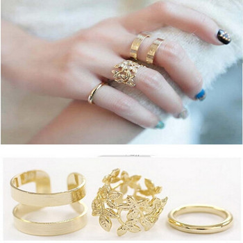 3pcs 2017 Fashion Rings for Wome Gold Silver Leaf Punk Finger Midi     3pcs 2017 Fashion Rings for Wome Gold Silver Leaf Punk Finger Midi Knuckle  Ring Sets Jewelry Aneis Femininos anillos bagues in Rings from Jewelry