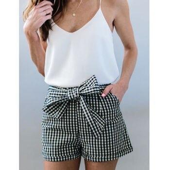 Womens High Waist Tie Belt Shorts Ladies Summer Fashion Bow Knot Plaid Solid