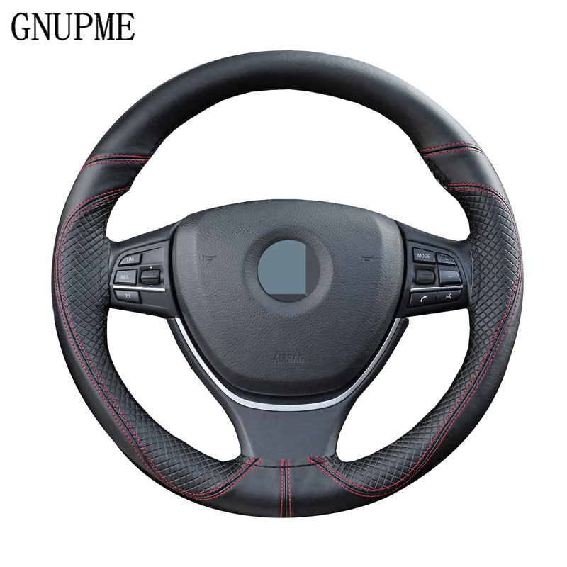 GNUPME DIY Genuine Leather Car Steering Wheel Cover Soft Anti slip 100% Cowhide Braid With Needles Thread 38cm Steering Covers