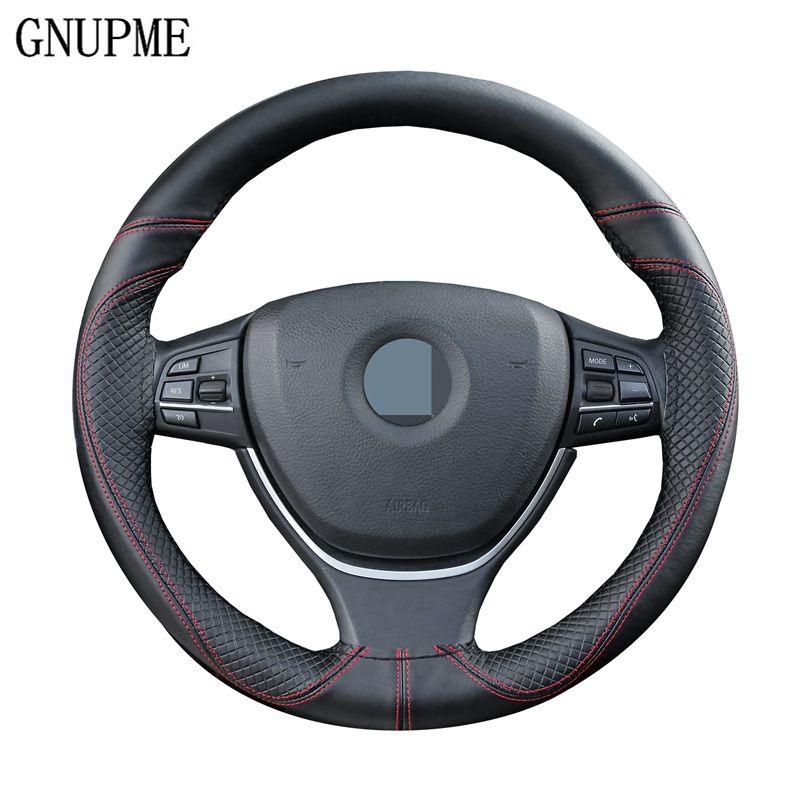 GNUPME DIY cuero genuino cubierta del volante del coche antideslizante 100% zurriago trenza con agujas hilo 38 cm dirección cubre