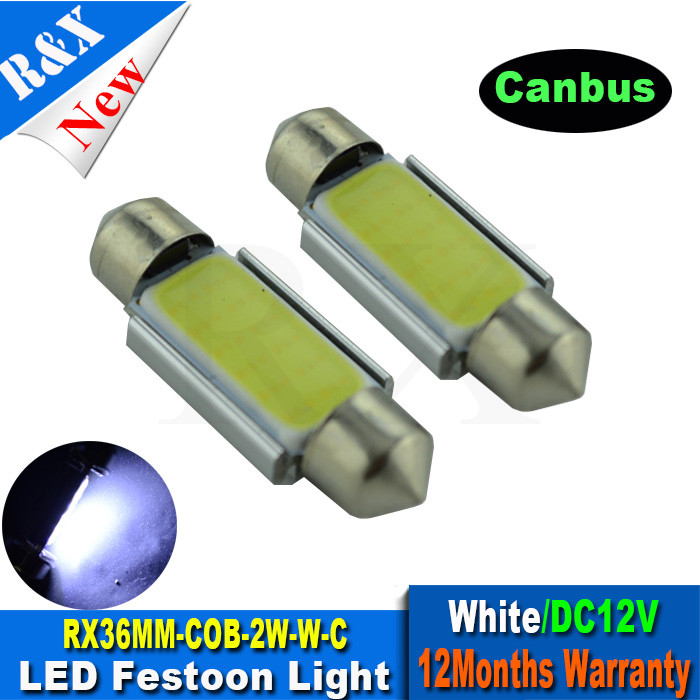 2pcs 36mm COB Pure White Dome Festoon CANBUS No Error Car 2W LED Light c5w led Lamp auto Bulb 12V led interior light g4 3w 280lm 6500k ac 12v led cob car bulb cabinet dome light pure white