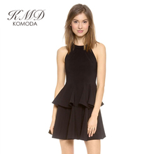 KMD KOMODA Women Dress Solid Black Cute Away Contracted Layered Bodycon Dress Vestidos High Waist Sexy Female A-line Mini Dress