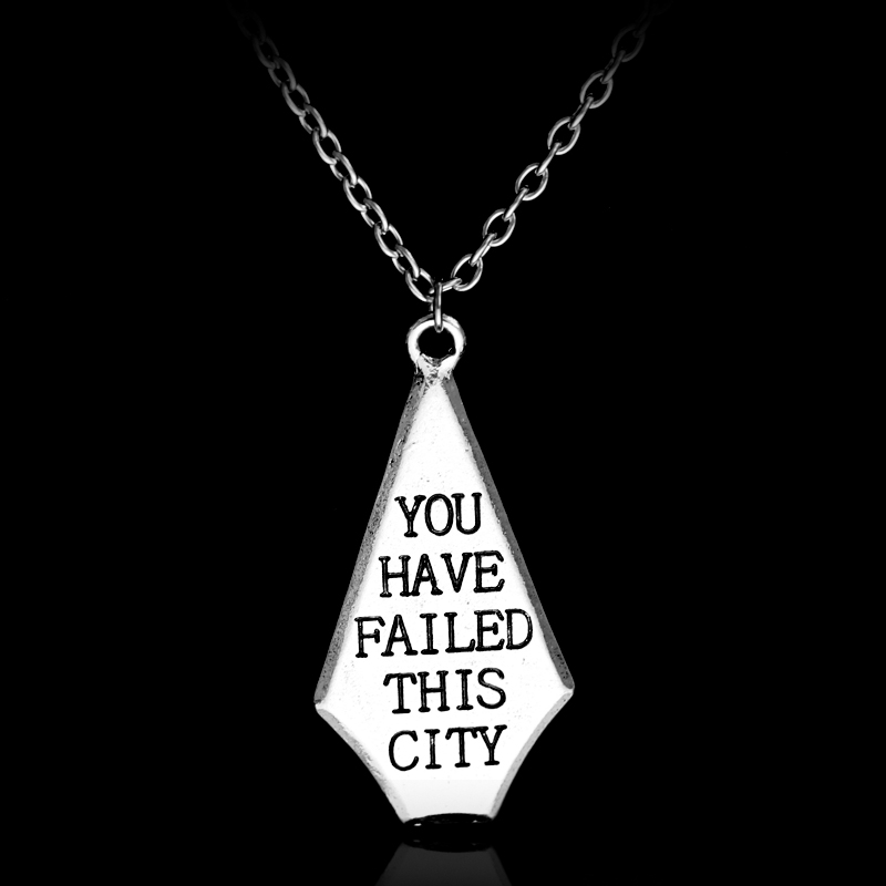 Free Shipping New Green Arrow You Have Failed This City Banner Alloy Pendant Necklace Simple Joker Chain Necklace Gift For Fans