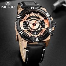 Часы MEGIR мужские наручные кварцевые, креативные модные спортивные брендовые водонепроницаемые с календарем