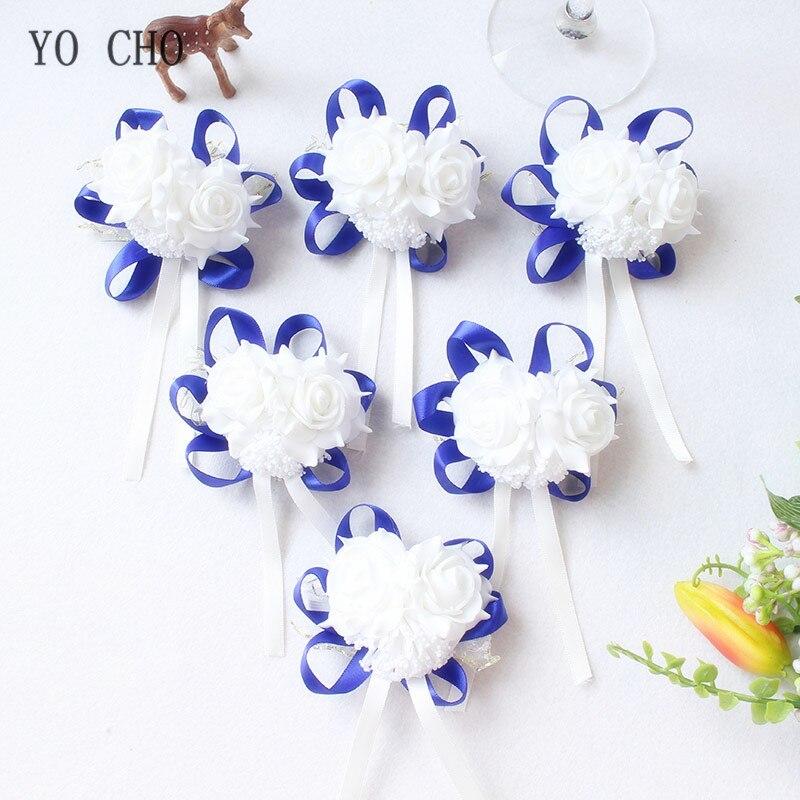 YO CHO Wrist Corsage White Wrist Corsage Bracelet Bridesmaid Accessories Pink Wrist Flowers Polyester Marriage Wedding Supplies