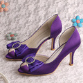 (20 Colors)Wedopus Elegant Women Wedding Shoes Purple Satin Open Toe 8CM Heel