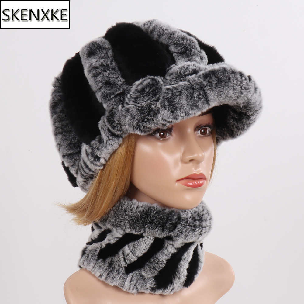 New Arrival Winter Real Rex Rabbit Fur Scarves Hats Sets Women Knitted Real Fur Hat Scarf Set Women Good Elastic Fur Hat Muffle