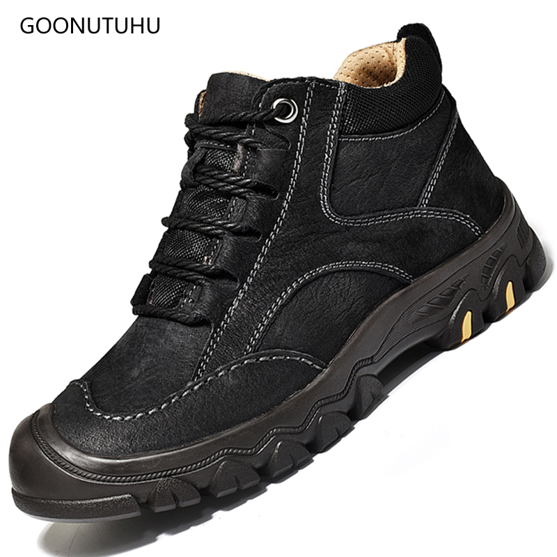2018 Winter men's boots casual genuine leather lace-up shoes man classic black brown military boot shoe ankle snow boots for men desert ram brand new ankle bot lace up men s boots leather boots for men shoes casual boot male winter black white sneakers shoe