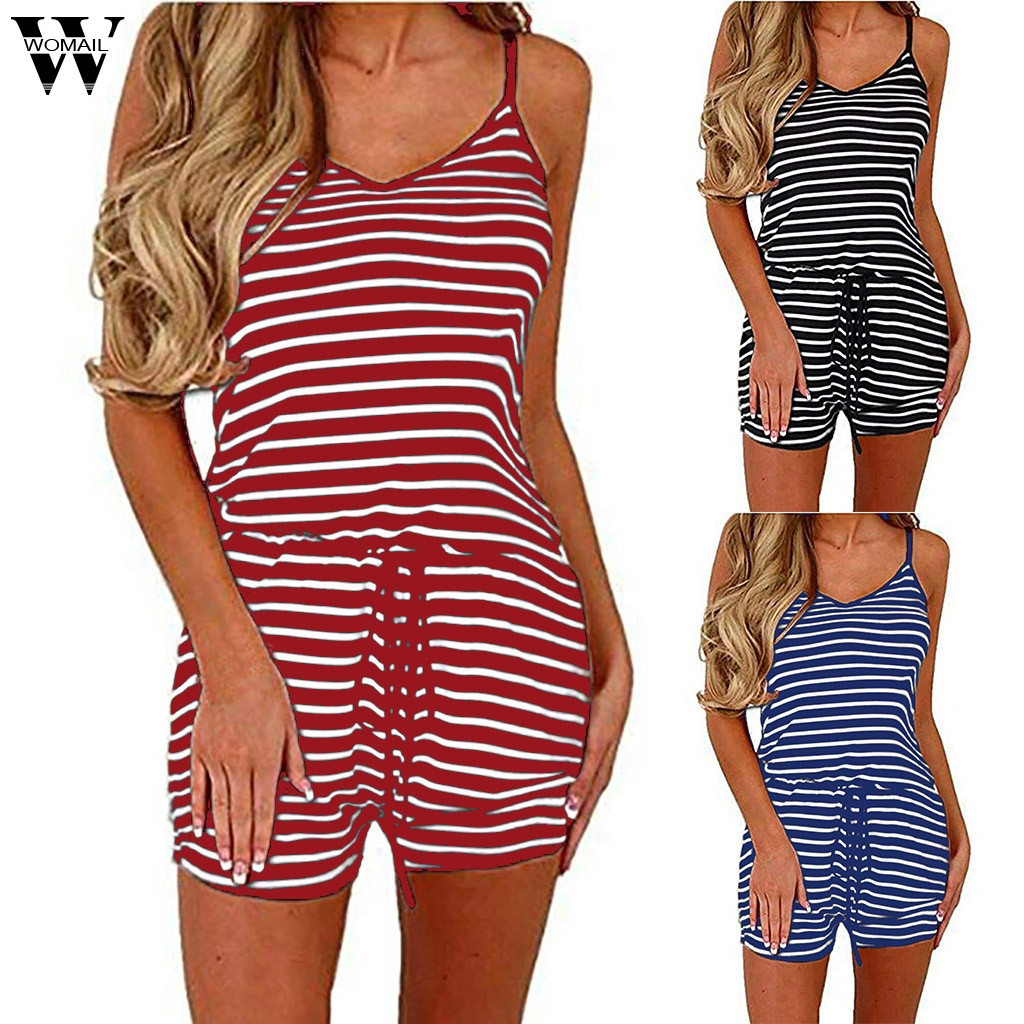 Womail Bodysuit Women Summer Adjustable Waist Drawstring Short Jumpsuit Romper Loose Solid Casual Fashion High Quality 2019 A18