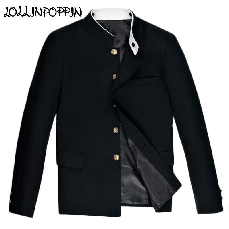 Chinese Style Double Collar Black Suit Jacket New 2019 Mandarin White Collar Tunic Jacket College Jackets