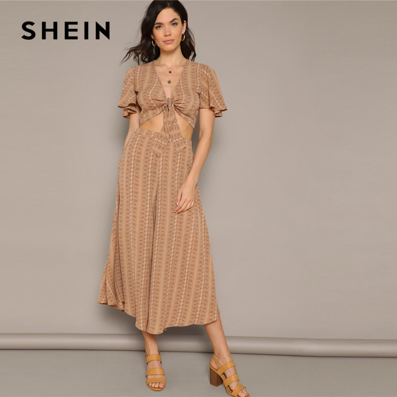 3e4ec45e35 SHEIN Deep V Neck Flutter Sleeve Knot Top and Wide Leg Pants Set Women Two  Pieces