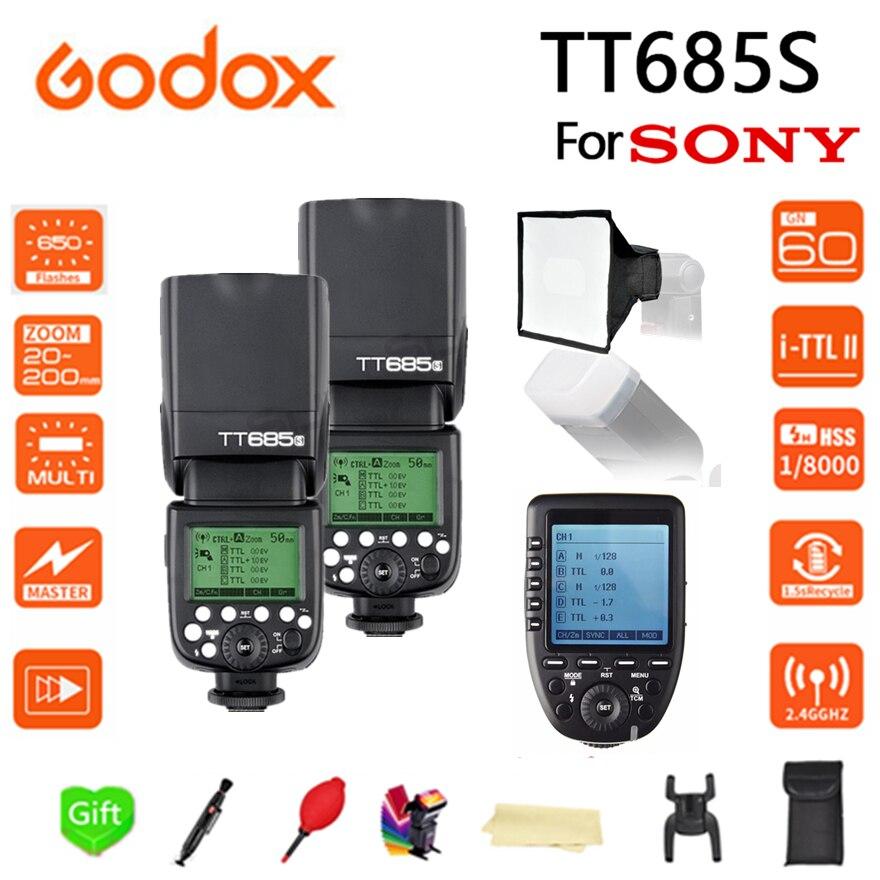 2x Godox TT685 TT685S 2.4G 1/8000s HSS TTL Camera Flash + XPRO-S + 15*17 cm softbox for Sony DSLR Cameras A77II A7RII A7R A58 A92x Godox TT685 TT685S 2.4G 1/8000s HSS TTL Camera Flash + XPRO-S + 15*17 cm softbox for Sony DSLR Cameras A77II A7RII A7R A58 A9