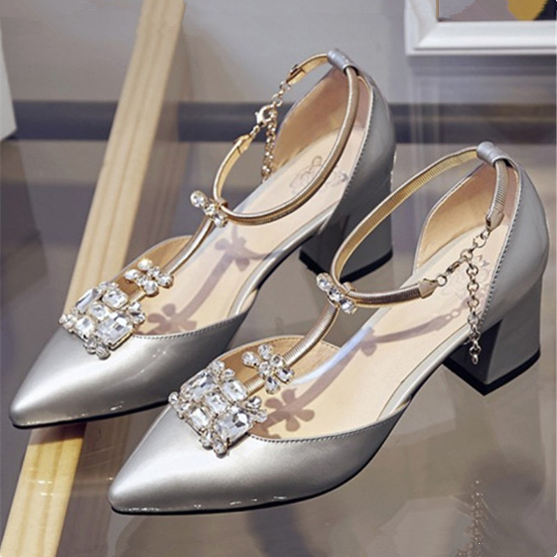 Plus Size 34-43 New Fashion Women Sandals Crystal Sexy High Heels Party Women Shoes genuine leather rhinestone Pointed Toe Pumps цены онлайн