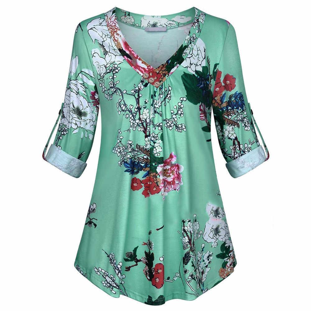 5XL زائد حجم النساء تونك قميص 2019 الخريف كم طويل الزهور طباعة قميص بلوزة من عنق v و قمم مع زر كبير حجم النساء الملابس