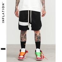 INFLATION Men Shorts Hip Hop Brand Clothing Streetwear Draw Rope Zipper Jogger Shorts Mesh Pocket Tide
