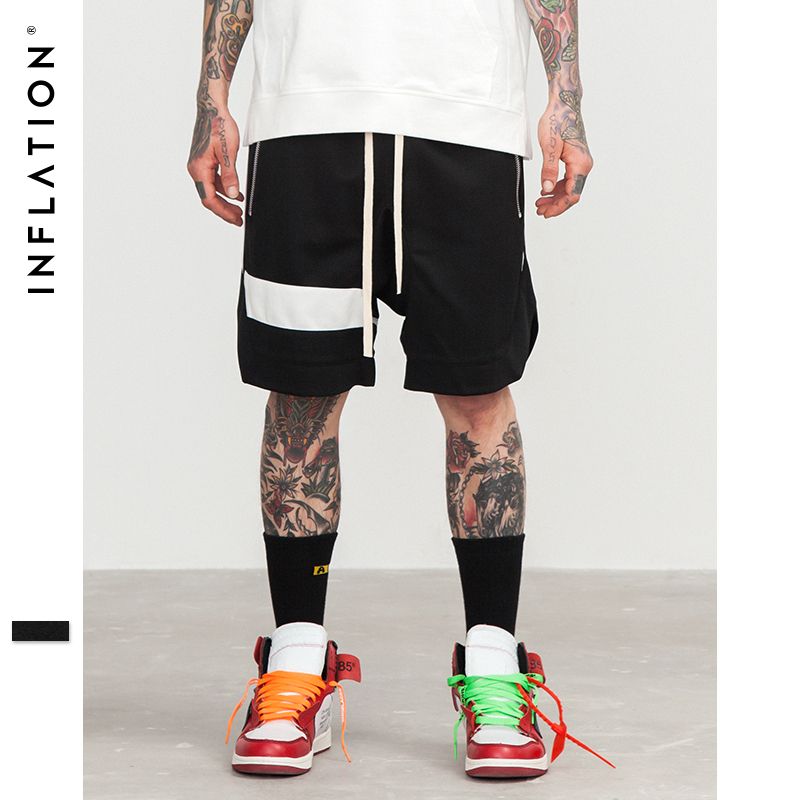 INFLATION Mens Shorts Hip Hop Brand Clothes Streetwear Draw Rope Zipper Jogger Shorts Mesh Loose Hip-Hop Shorts For Men 8422S
