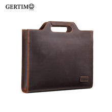 лучшая цена New Genuine Leather Men's Handbags  Retro Crazy Horse Leather Men Tote Bag Shoulder Messenger Business Men Briefcase Laptop Bags