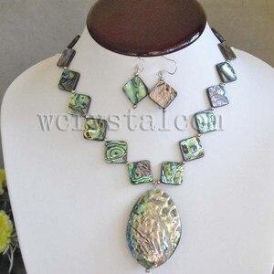 Carré Abalone Paua Shell Collier Boucles D'oreilles Ovale Paua shell pendentifs Femme Ensembles de Bijoux pour Femmes