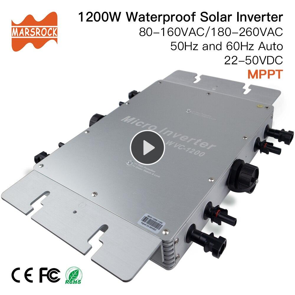 Wodoodporny IP65 MPPT 1200W inteligentny sieciowy falownik solarny DC 22-50V do 80-160VAC lub 180-260VAC, 50 hz/60 hz, maks. Dla paneli 1400W