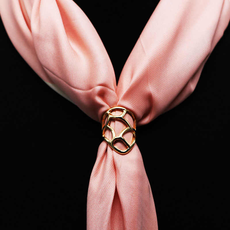 Korean Fashion Silk Scarf Buckle Accessories Metal Pins and Brooches Gold Silver Shawl Buckle Gifts for Women Ring Clips Jewelry