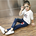 2017 spring and autumn big  girls jeans trousers elastic slim pants  Children Denim Pants Casual Ripped Jeans For 5~14 Y