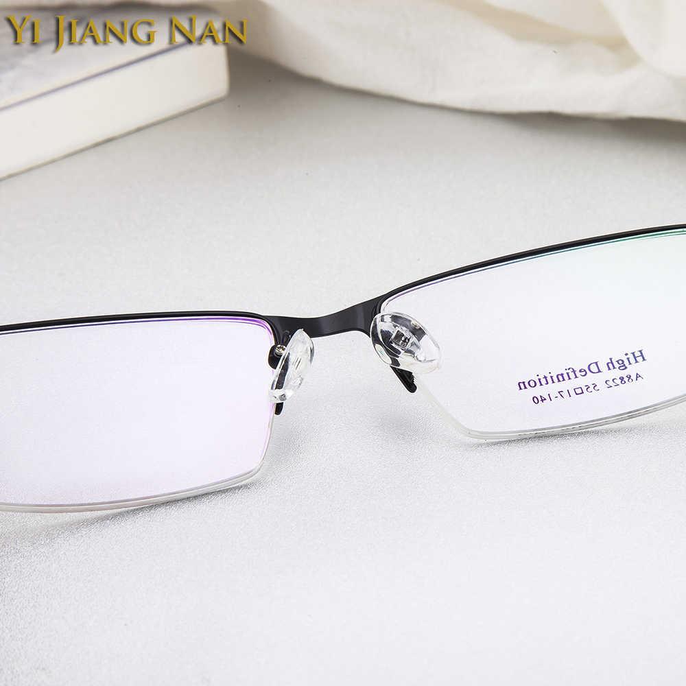 Yi Jiang Nan marca moda tendencia aleación marco TR 90 templo hombre gafas montura miopía lentes transparentes