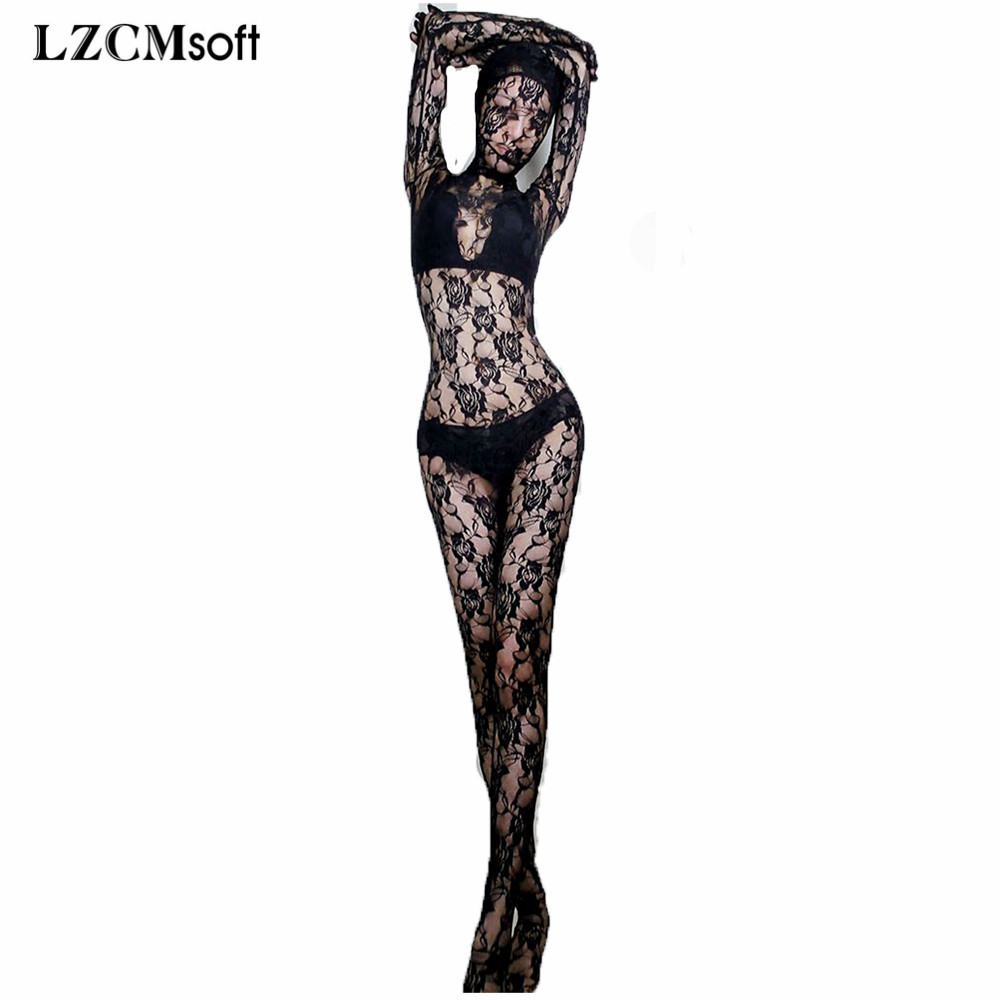 Unisex Women One Piece Stretch Zentai Suits Sexy Lace Full Body Bodysuits with Hood Night Club Stage Performance Show Costumes