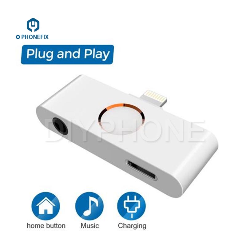 PHONEFIX External Home Button Audio Jack Headphone Converter Listen To Music And Charging For IPhone X 8 7 6 6S 5