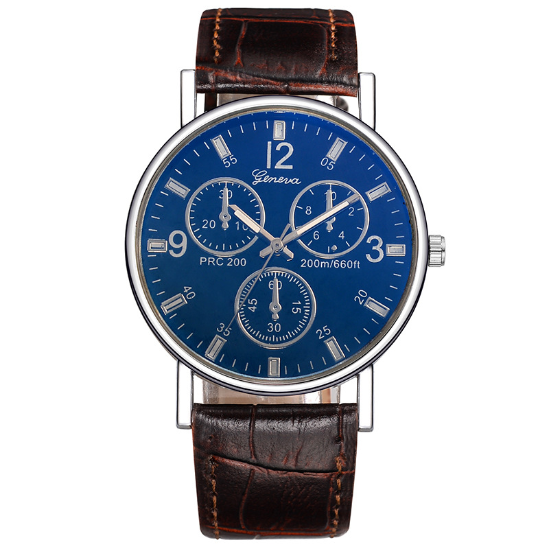 Mannen Business Style 3-eye horloge 2018 Fashion Casual Heren Lederen - Dameshorloges - Foto 4
