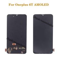 """6.41 """"AMOLED מקורי LCD עבור Oneplus 6T LCD תצוגת מסך מגע החלפת ערכת תצוגת 2340*1080 זכוכית מסך"""