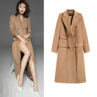 2019 Winter New Woolen Coat, High Round, Same Camel Color, Double breasted Double sided Cashmere Coat, Long Style Woman Jackets