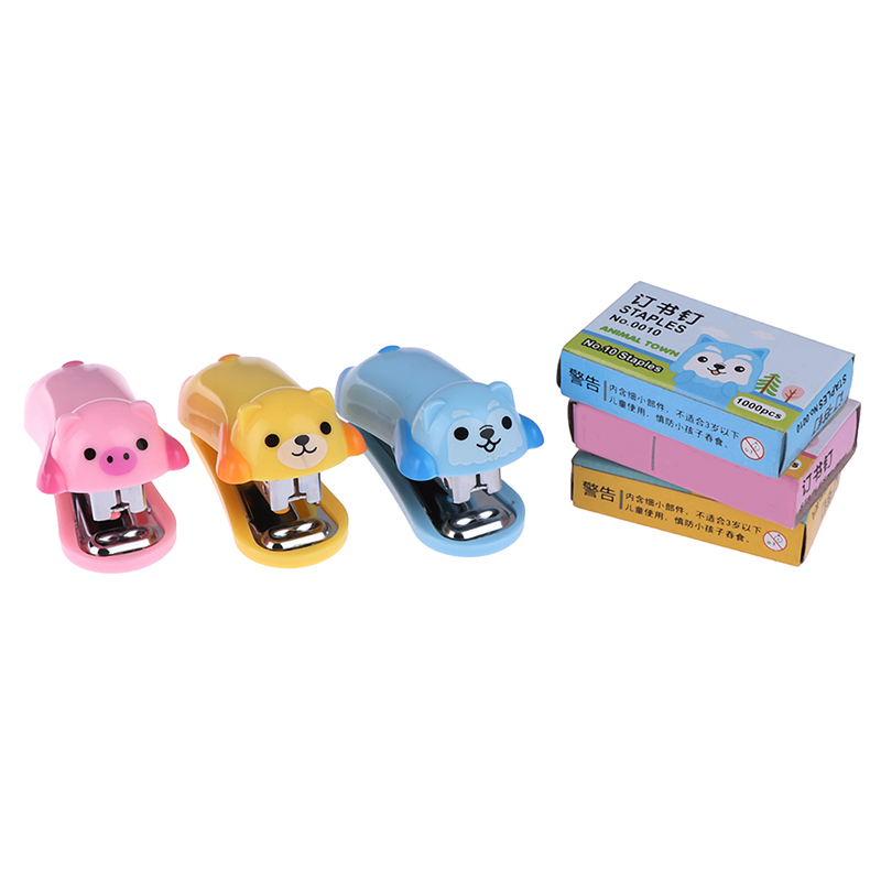 1set Mini Cartoon Animals Stapler Set Office School Supplies Staionery Paper Clip Binding Binder Book Sewer Color Randomly