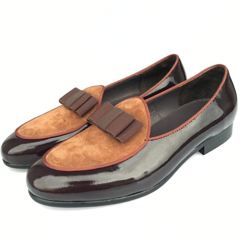 Nauji rankų darbo vyrai rudi banketai odiniai kepurėliai Vyrai vestuvių batai šlepetės vyrai suknelė Prom batai su Bowtie prabangūs vyrų butai